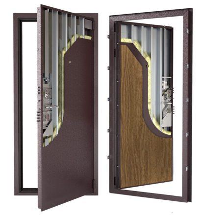 Стальная дверь ДС 3у с внутренней отделкой 6ПЭ-дуб