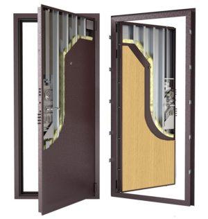 Стальная дверь ДС 3у с внутренней отделкой 6ПЭ-бук
