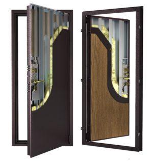 Стальная дверь ДС 9 с внутренней отделкой 6ПЭ-дуб