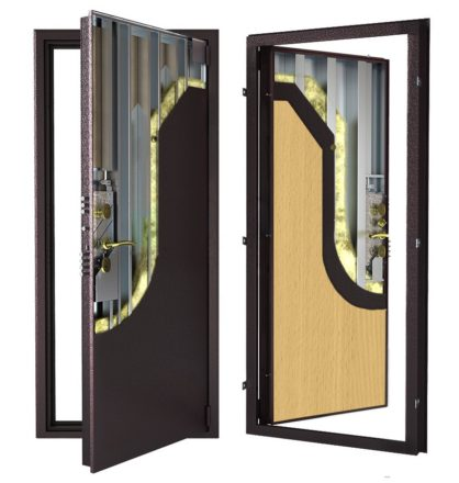 Стальная дверь ДС 9 с внутренней отделкой 6ПЭ-бук