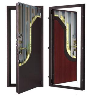 Стальная дверь ДС 9 с внутренней отделкой 6ПЭ-махагон
