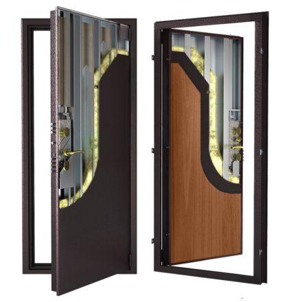 Стальная дверь ДС 9 с внутренней отделкой 6ПЭ-итальянский орех