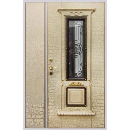 Стальная дверь двухстворчатая ДС 3 со стеклопакетом и решёткой внутренняя сторона