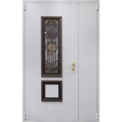 Стальная дверь двухстворчатая ДС 3 со стеклопакетом и решёткой