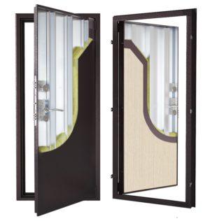 Стальная дверь ДС 2 с внутренней отделкой 6ПЭ-светлый венге