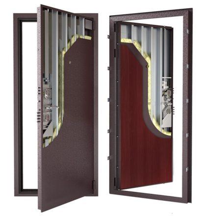 Стальная дверь ДС 3у с внутренней отделкой 6ПЭ-махагон